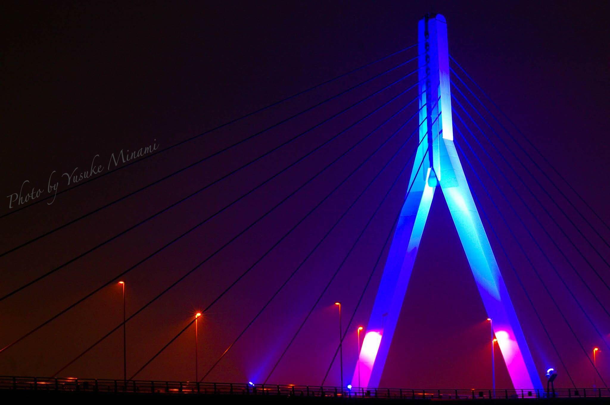 【世界糖尿病デー】 2016芦田川大橋のブルーライトアップはいつまで?/広島県福山市