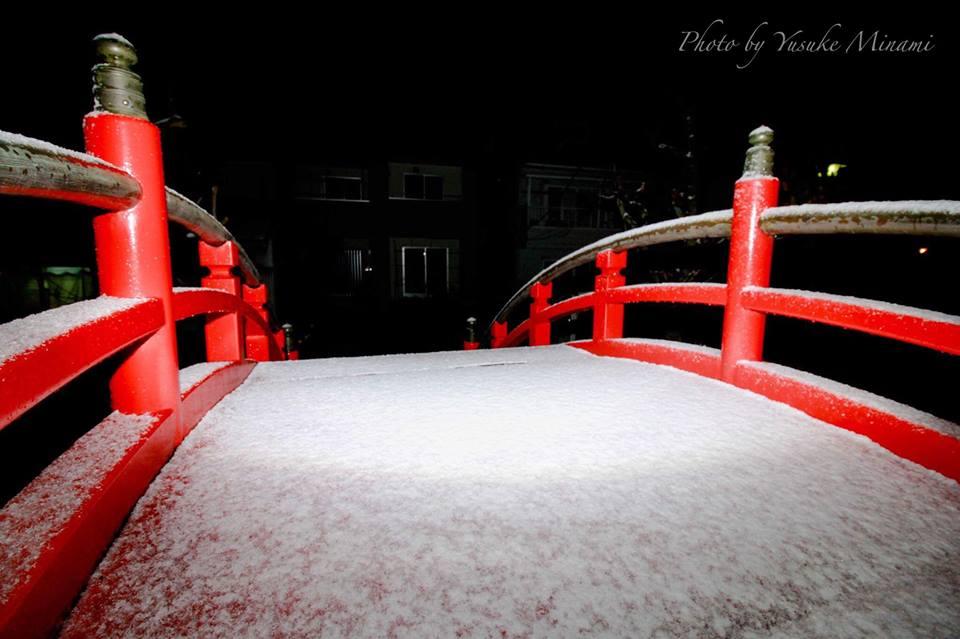 【願掛橋】雪積もる福山市の太鼓橋、2017年2度目の雪景色!!/広島県福山市