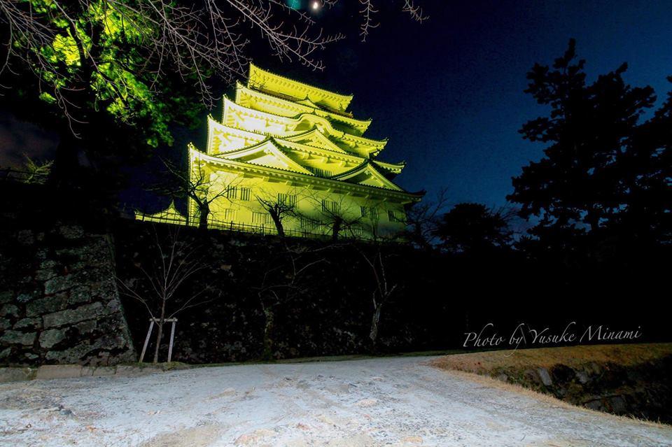 【福山城の雪】城のあるまち福山城を薄っすら雪景色2018/広島県福山市