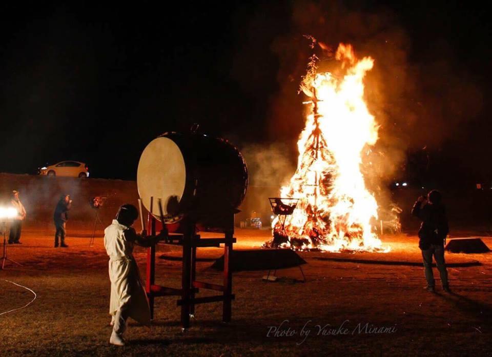 【福山火祭り】 福山とんど 月と炎のハーモニー/広島県福山市水呑大橋